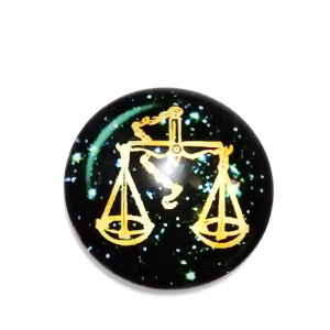 Cabochon sticla zodiac, BALANTA , 12x4mm  1 buc