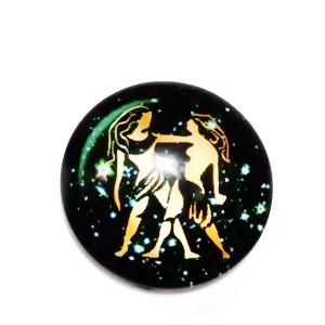 Cabochon sticla zodiac, GEMENI, 12x4mm  1 buc