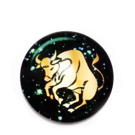 Cabochon sticla zodiac, TAUR, 14x4mm  1 buc