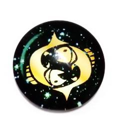 Cabochon sticla zodiac, PESTI, 25x6mm  1 buc