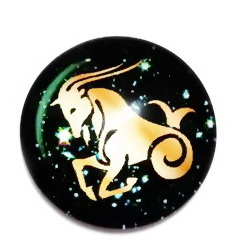 Cabochon sticla zodiac, CAPRICORN, 25x6mm  1 buc