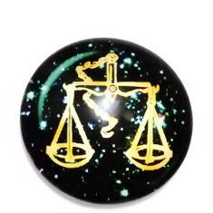 Cabochon sticla zodiac, BALANTA , 25x6mm  1 buc