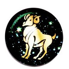 Cabochon sticla zodiac, BERBEC, 25x6mm  1 buc