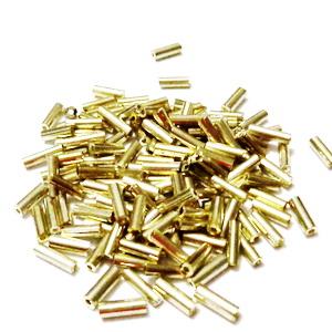 Margele tubulare, aurii cu aspect metalizat, 6mm 20 g