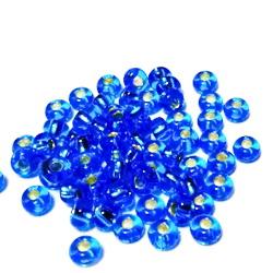 Margele nisip, Rocaille Preciosa 6/0-4mm, bleu cu miez argintiu 20 g