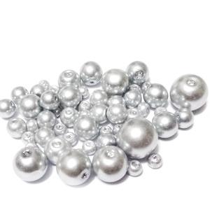 Mix perle sticla argintiu, 4-12 mm 1 buc