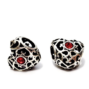 Margele tibetane, stil Pandora, cu stras rosu, inima 12x12x9mm, orificiu: 5mm 1 buc