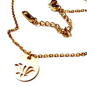 Lant otel inoxidabil 304, auriu, lungime 40cm, zale 2x1.5mm, pandantiv floare, cu inchizatoare 1 buc
