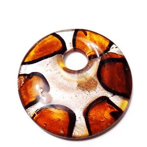 Pandantiv Murano, rotund, maro cu argintiu, 42x8mm 1 buc