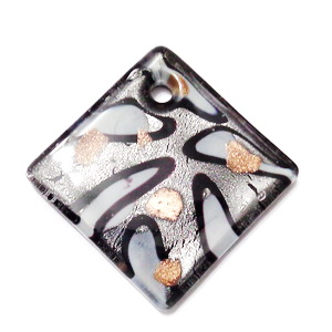 Pandantiv Murano, rombic, argintiu cu alb, negru si auriu, 40x40x7mm 1 buc