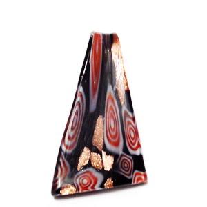 Pandantiv Murano, triunghiular,  negru cu auriu, rosu si alb, 10~32x 60mm 1 buc