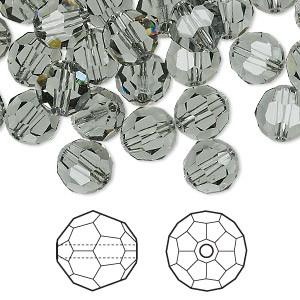 Swarovski Elements, Faceted Round 5000-Black Diamond, 4mm 1 buc