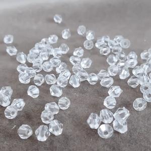 Margele plastic, biconice, transparente, 4mm cca 100 buc