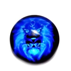 Cabochon sticla zodiac, albastru, LEU, 12x4mm  1 buc