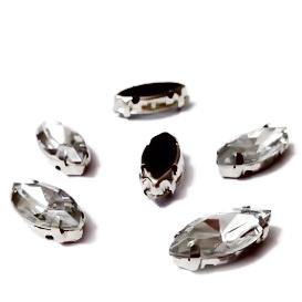 Margele montee rhinestone, plastic, transparente, ochi de cal, 15x7x5mm 1 buc