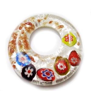 Pandantiv Murano, cu flori multicolore, argintiu si glitter auriu, 46x9mm 1 buc