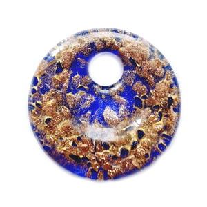 Pandantiv Murano, negru cu glitter auriu, 52x11mm 1 buc