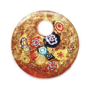 Pandantiv Murano, frunza neagra cu floare bleu si glitter auriu, 60x30x10mm 1 buc
