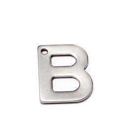 Pandantiv otel inoxidabil 304, litera B, 11x9x0.8mm 1 buc