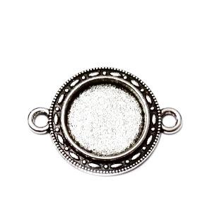 Conector / link cabochon, argint tibetan, 28x21mm, interior: 14mm 1 buc