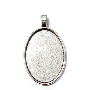 Baza cabochon, argint tibetan, pandantiv 46x28mm, interior 35x25mm 1 buc