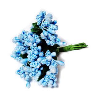 Buchet 12 flori albastru deschis, din stamine, 7-8 cm 1 buc