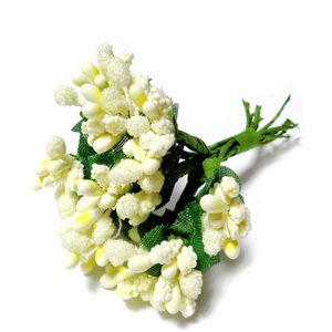 Buchet 12 flori crem, din stamine, 7-8 cm 1 buc