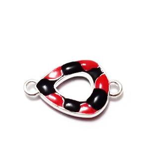 Conector/link metalic, emailat, rosu cu negru, lacrima, 16x8mm 1 buc