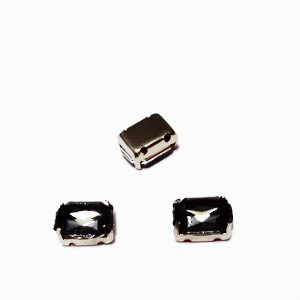 Margele montee rhinestone, plastic, gri inchis, dreptunghiulare, 8x6x4mm 1 buc