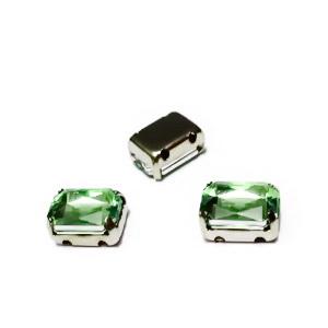 Margele montee rhinestone, plastic, verde deschis, dreptunghiulare, 8x6x4mm 1 buc