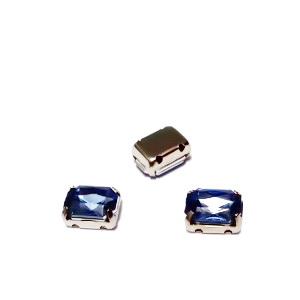 Margele montee rhinestone, plastic, albastre, dreptunghiulare, 8x6x4mm 1 buc