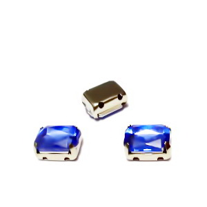 Margele montee rhinestone, plastic, albastru-cobalt, dreptunghiulare, 8x6x4mm 1 buc