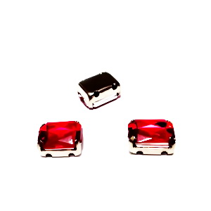 Margele montee rhinestone, plastic, rosii, dreptunghiulare, 8x6x4mm 1 buc