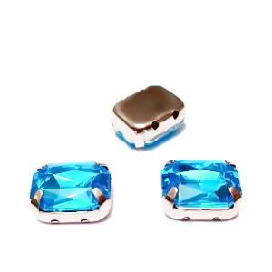 Margele montee rhinestone, plastic, bleu, dreptunghiulare, 10x8x4.5mm 1 buc