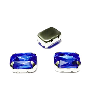 Margele montee rhinestone, plastic, albastru-cobalt, dreptunghiulare, 10x8x4.5mm 1 buc