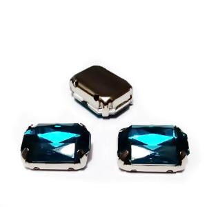 Margele montee rhinestone, plastic, turcoaz inchis, dreptunghiulare, 14x10x5mm 1 buc