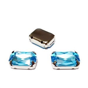 Margele montee rhinestone, plastic, bleu, dreptunghiulare, 14x10x5mm 1 buc