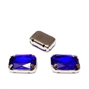 Margele montee rhinestone, plastic, albastru-cobalt, dreptunghiulare, 14x10x5mm 1 buc
