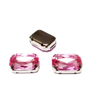 Margele montee rhinestone, plastic, roz, dreptunghiulare, 14x10x5mm 1 buc