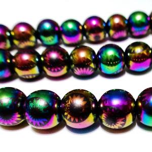 Hematite nemagnetice, electroplacate, multicolore, cu imprimeu floare, 8mm 1 buc