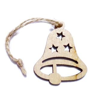 Ornament brad din lemn, clopotel 82x72x3mm-set 2 buc 1 set