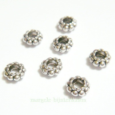 Distantier tibetan cu bobite, 6x3mm, orificiu 2.5mm 1 buc