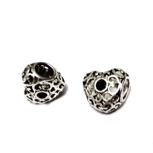 Margele tibetane, stil Pandora, cu stras negru, inima 12x12x9mm, orificiu: 5mm 1 buc