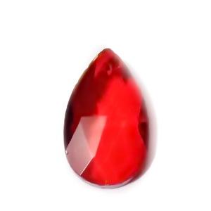 Pandantiv sticla, multifete, rosu, lacrima 22x13x7mm 1 buc