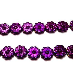 Hematite nemagnetice, electroplacate, violet , cu imprimeu floare, 10x3.5mm 1 buc