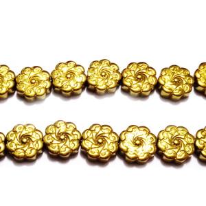 Hematite nemagnetice, electroplacate, aurii , cu imprimeu floare, 10x3.5mm 1 buc