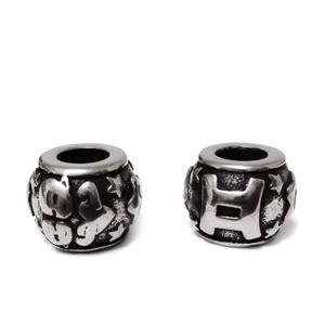 Margele otel inoxidabil 316, stil Pandora, cu aspect tibetan, 11x9mm, zodiac, gemeni 1 buc