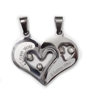 2 pandantive inima franta, otel inoxidabil 304, cu rhinestone, 25x30x3mm 1 pereche