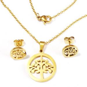 Set colier si cercei otel inoxidabil auriu, pandantive copacul vietii, 19mm si 10mm 1 buc