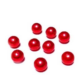 Perle plastic 8mm, FARA ORIFICIU, rosii 1 buc